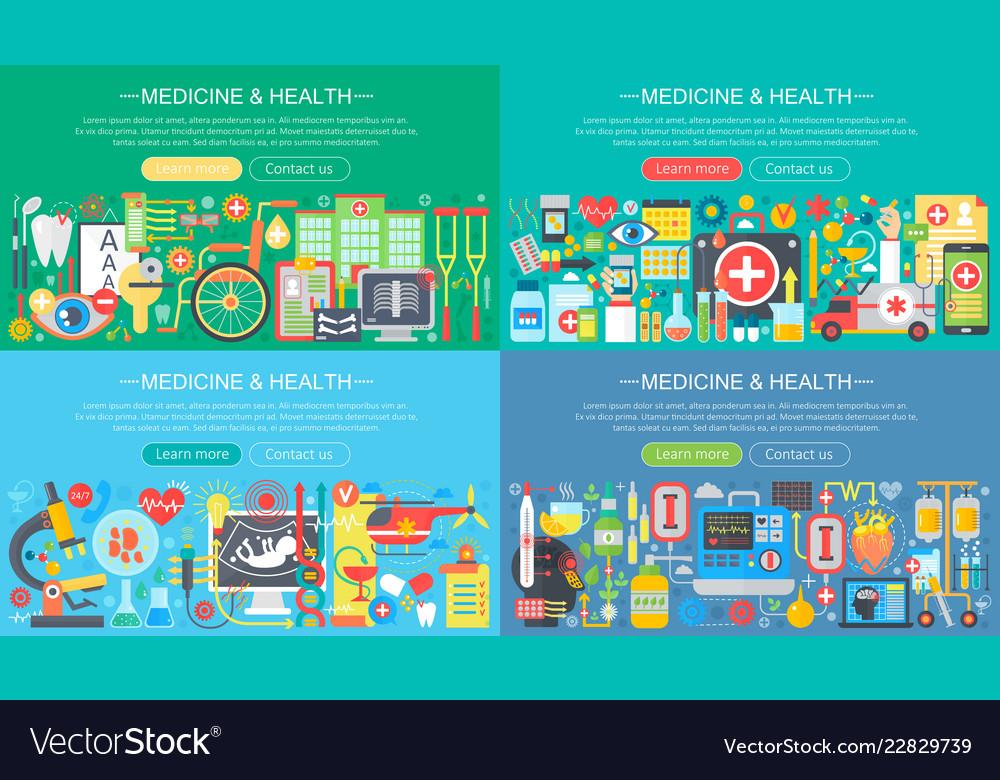 Medicine and health horisontal flat concept design
