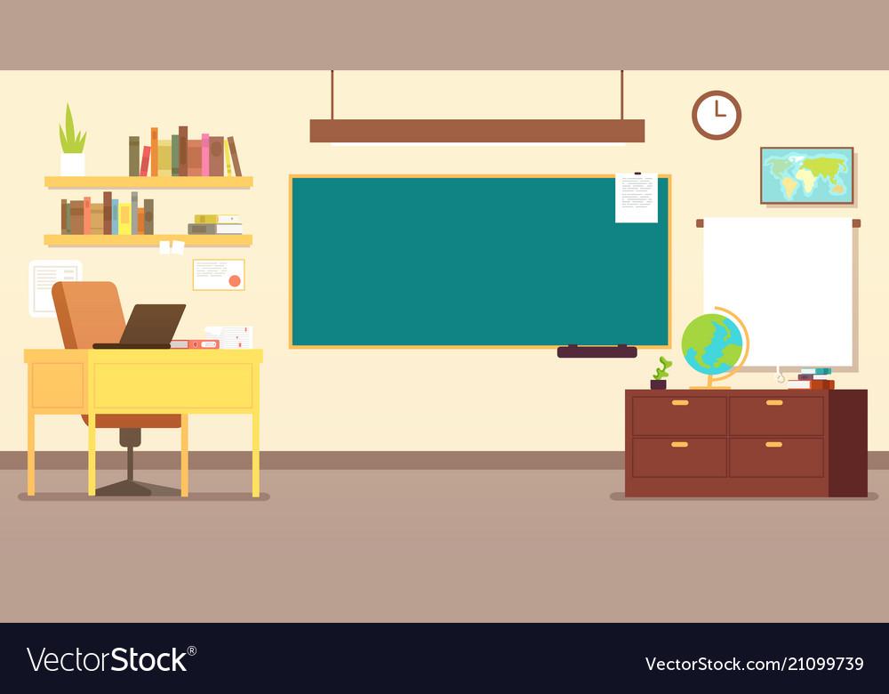 Nobody school classroom interior with teachers
