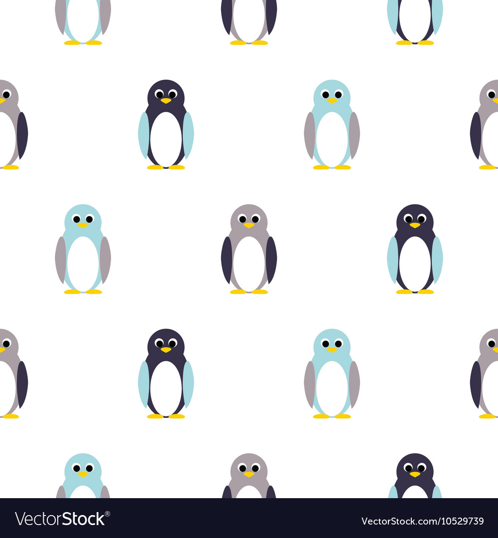 Penguin blue purple on white kid pattern vector image
