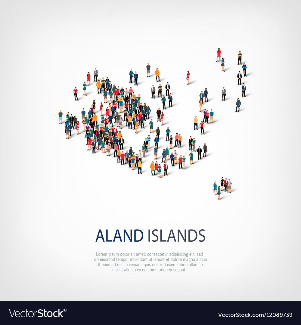 People map country Aland Islands vector image