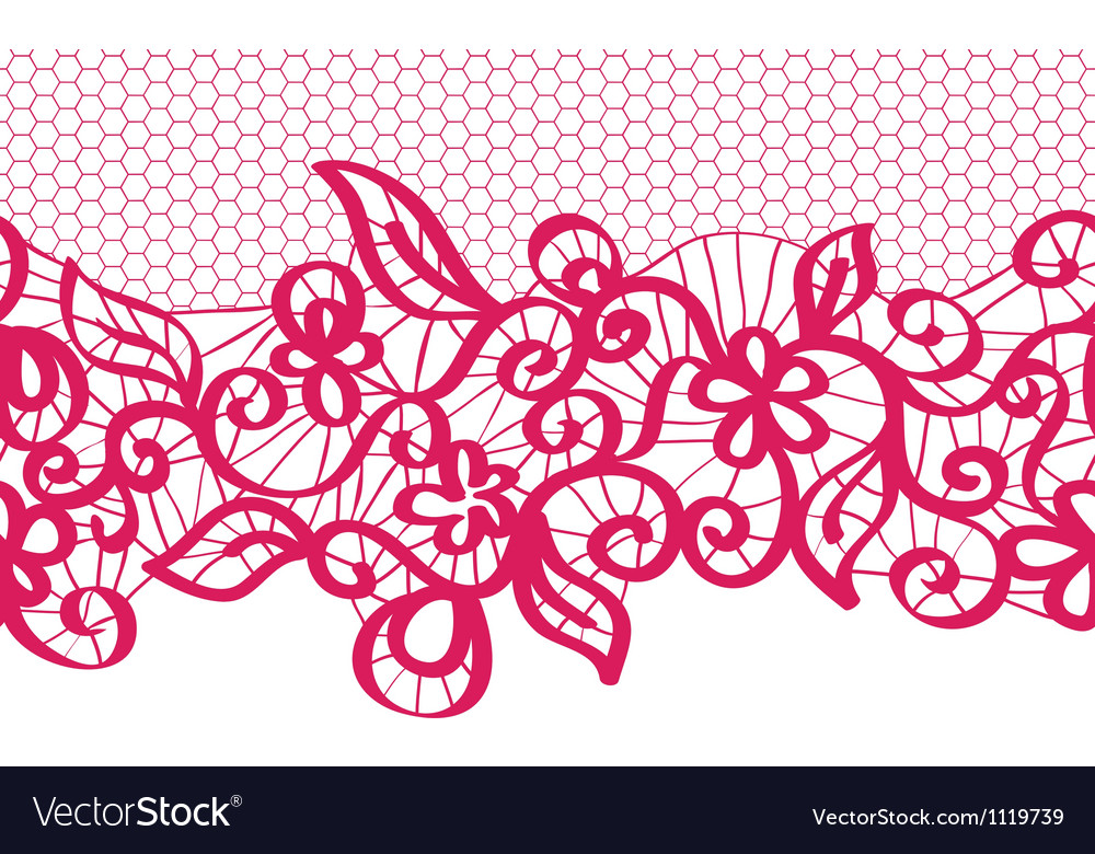 Seamless red lace with floral pattern