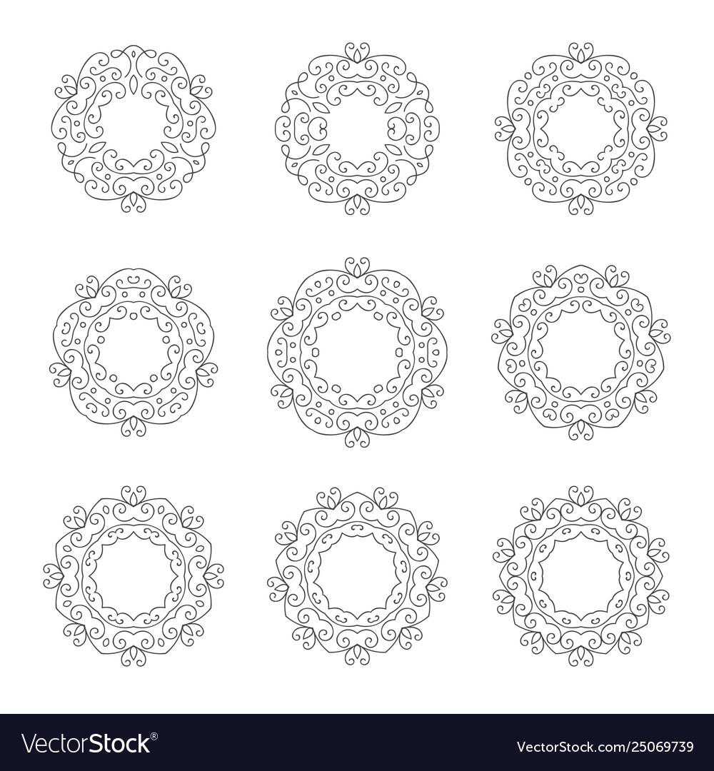 Set nine elegant hand drawn retro floral frame