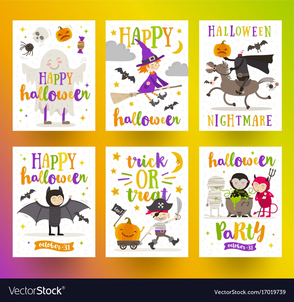 Set of halloween holidays posters or greeting card