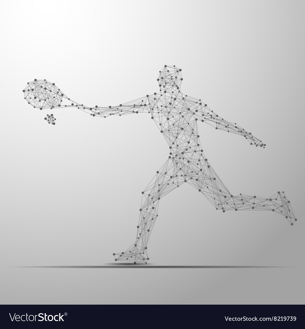 Tennis player poly gray vector image