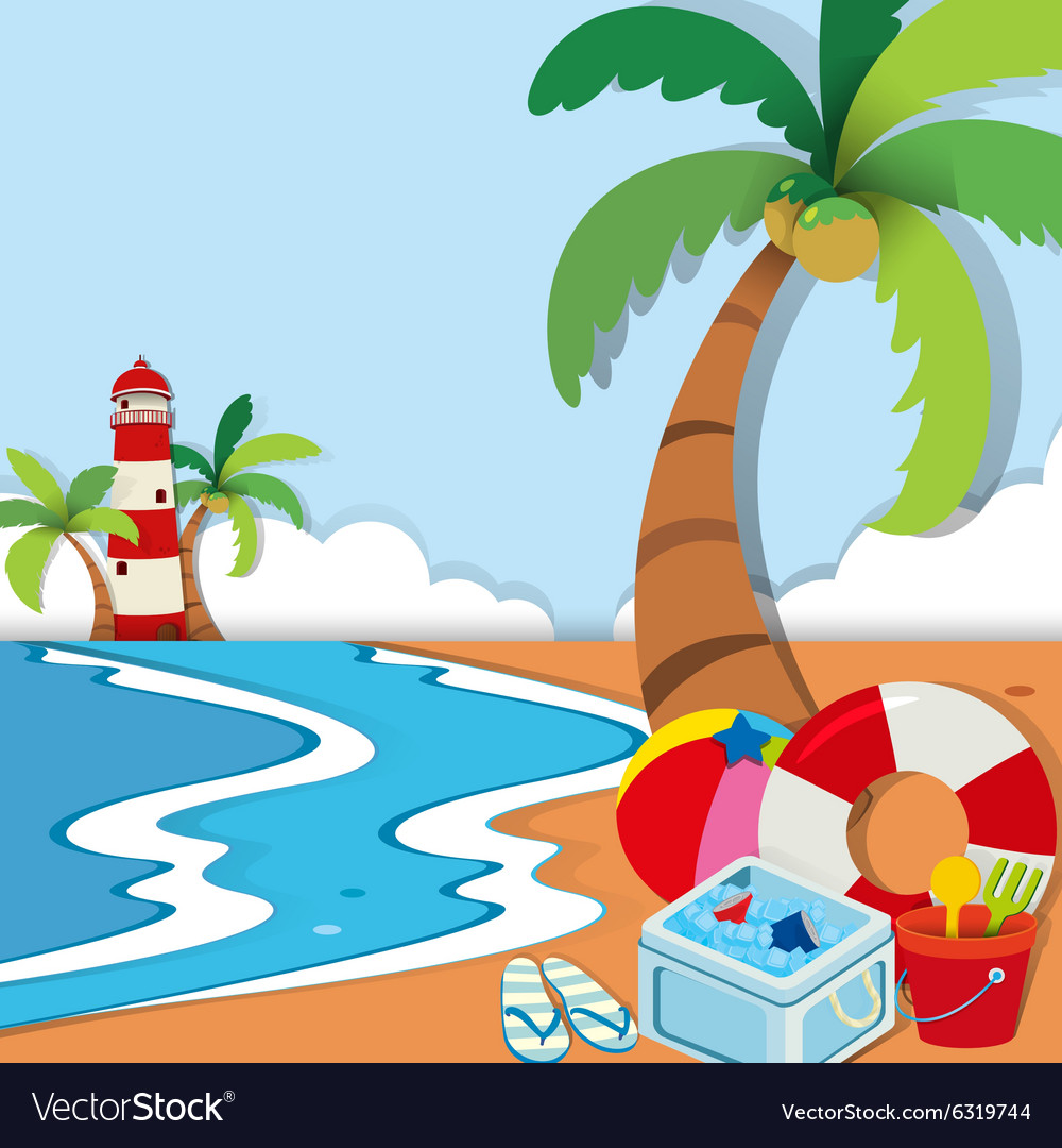 Beach scene with lighthouse and toys vector image