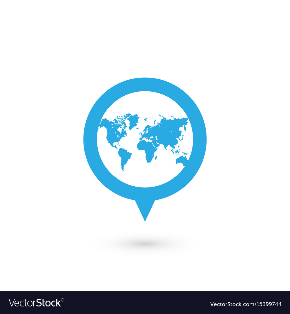 Blue map pointer with world map silhouette icon vector image gumiabroncs Gallery