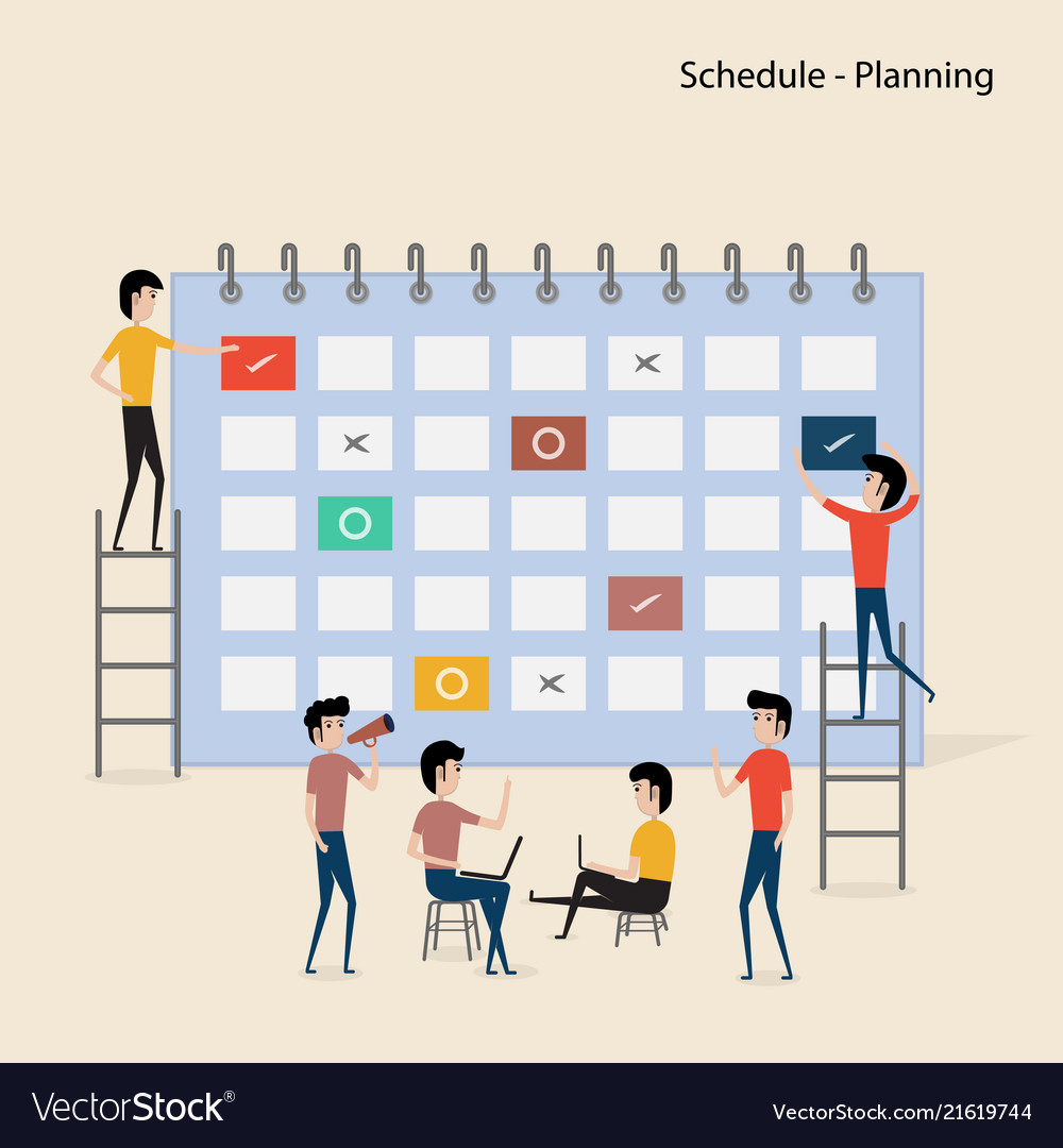 Calendar with schedule planspeople filling out