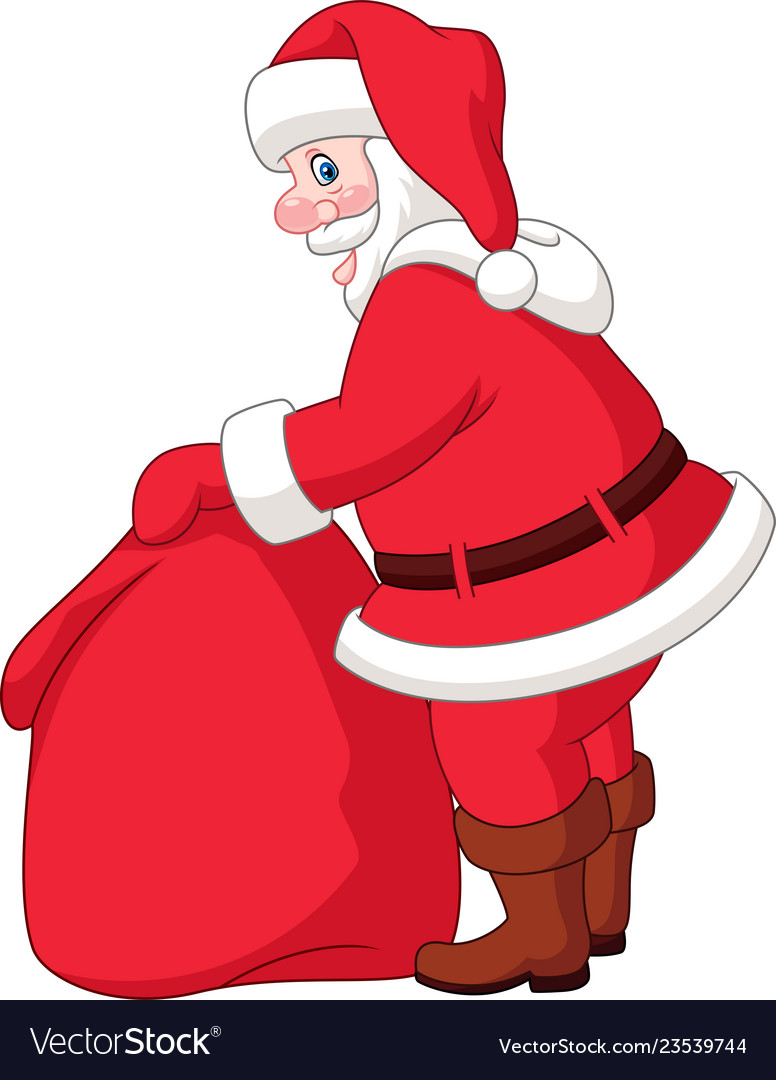 Cartoon santa claus with the bag of the presents