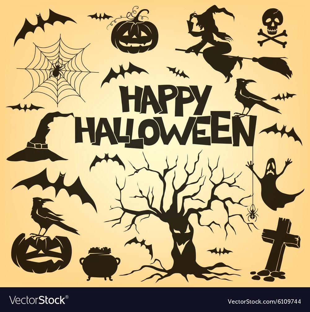 Halloween silhouette set