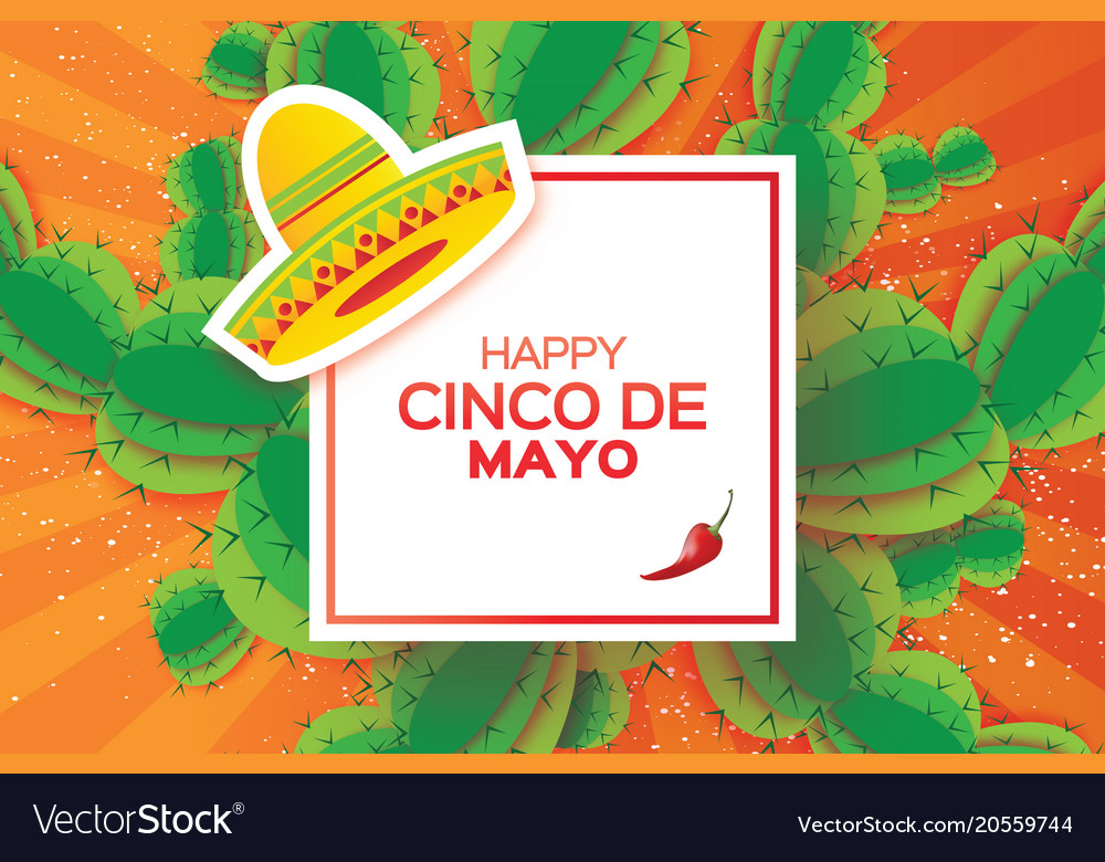 Happy cinco de mayo greeting card origami mexican vector image m4hsunfo