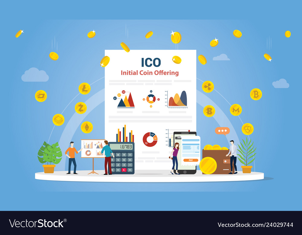 Ico initial coin offering concept with people and