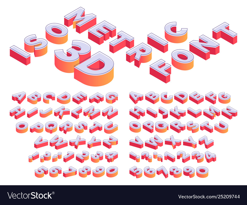 Isometric 3d letterring perspective letters font
