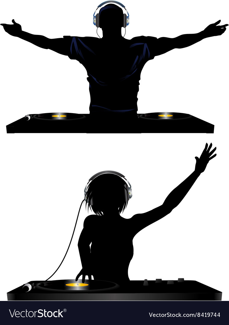 Male and female DJ and record decks