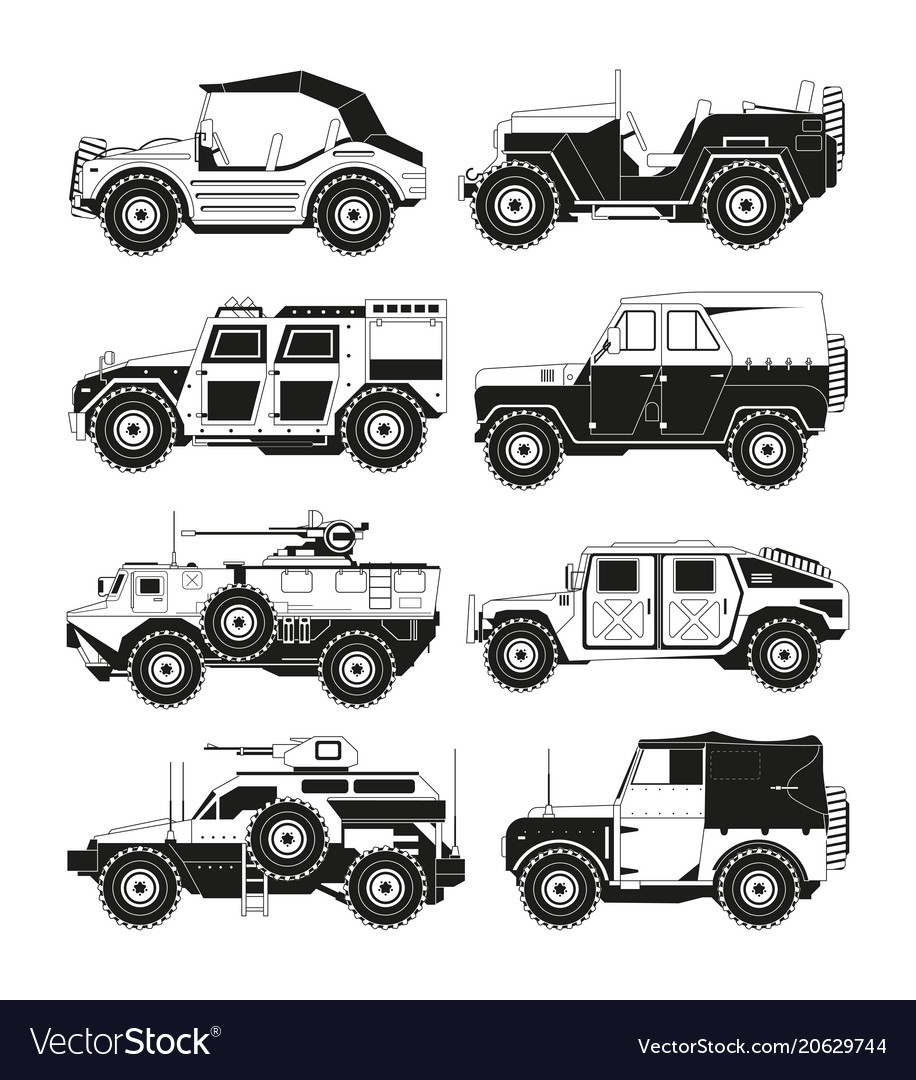 Monochrome pictures of military vehicles