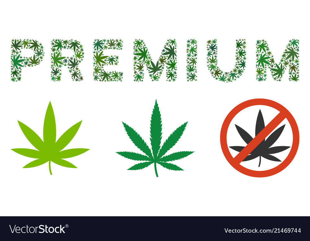 Premium Text Composition Of Weed Leaves Royalty Free Vector