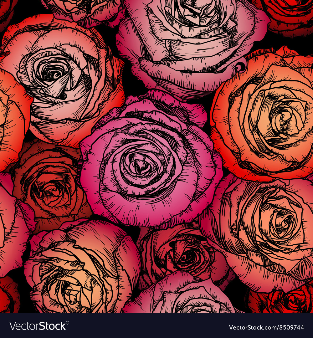 Seamless Floral Rose Wallpaper vector image