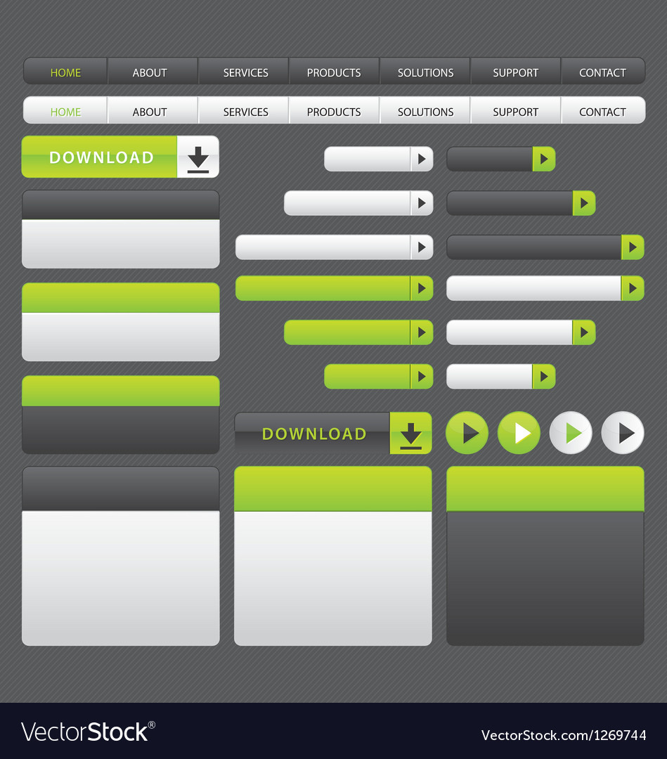 Website buttons template green and grey vector image
