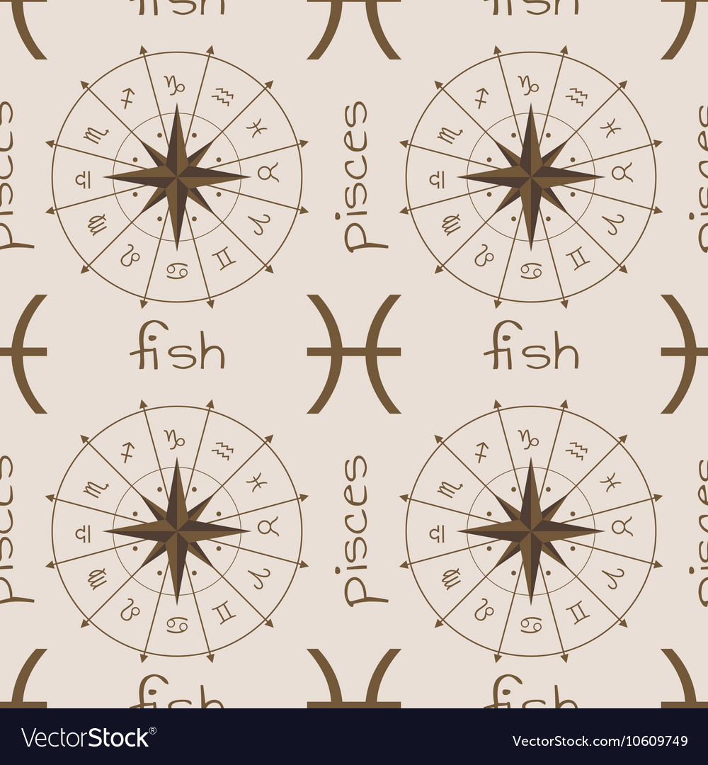Astrology sign Fish Seamless pattern