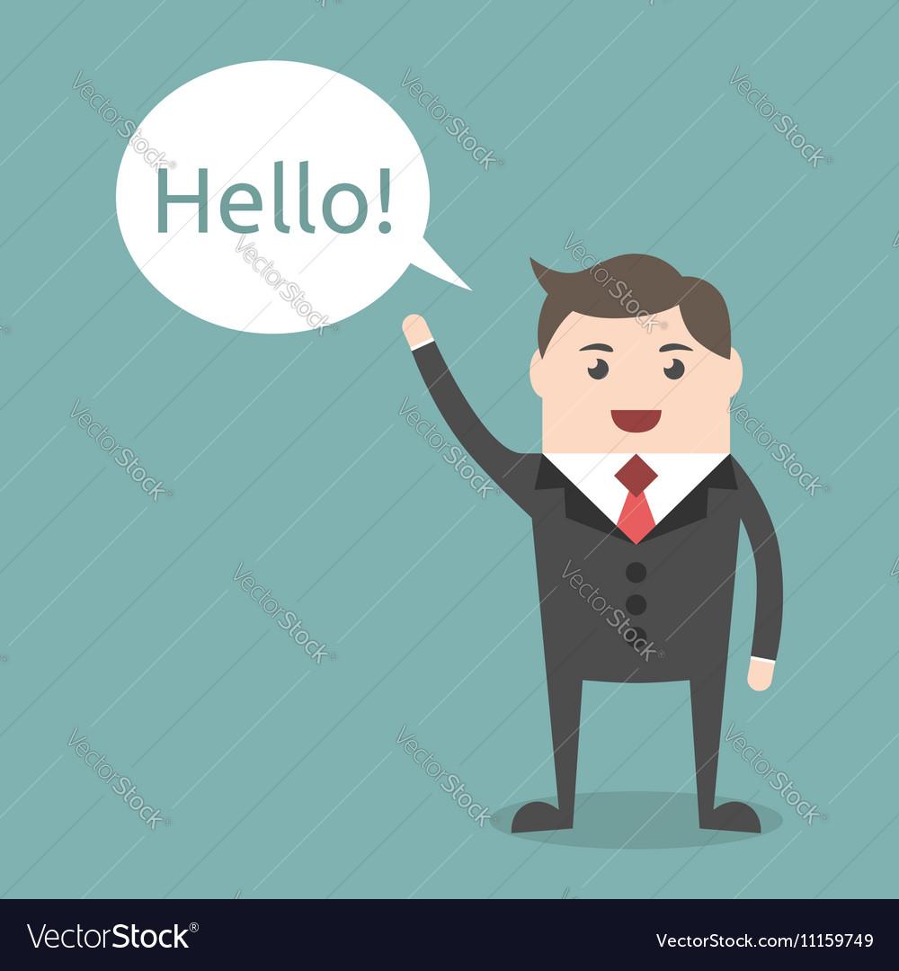 businessman character saying hello royalty free vector image