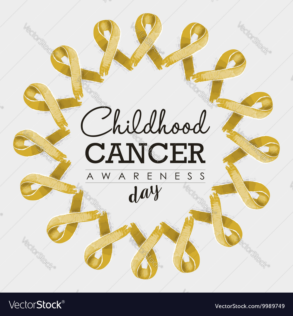 Child cancer awareness ribbon design with text vector image