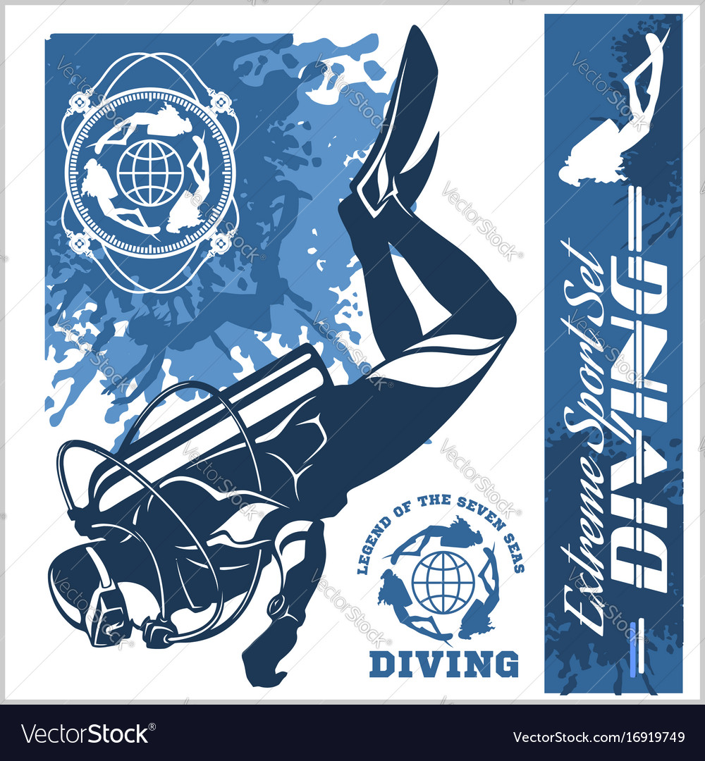 Diving club and labels set