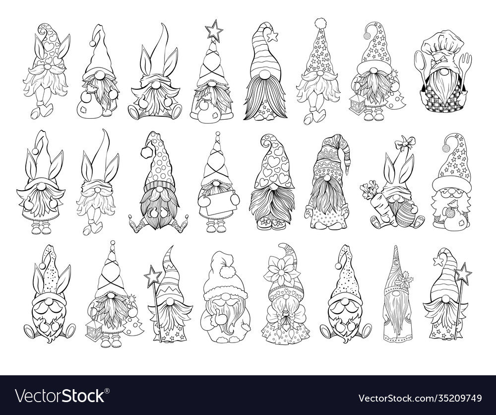 Gnomes bundle collection on santa hat