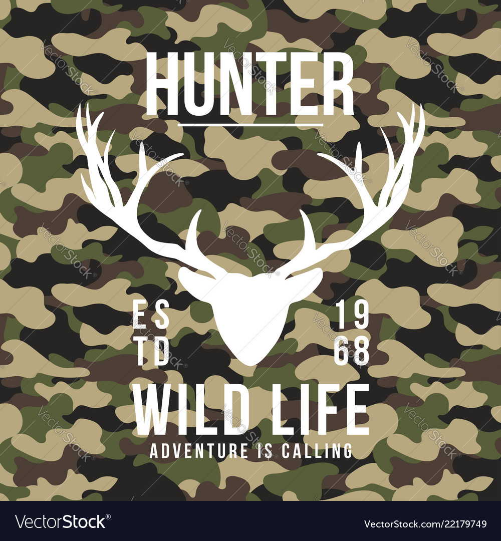 Hunting style t-shirt design with deer antlers on