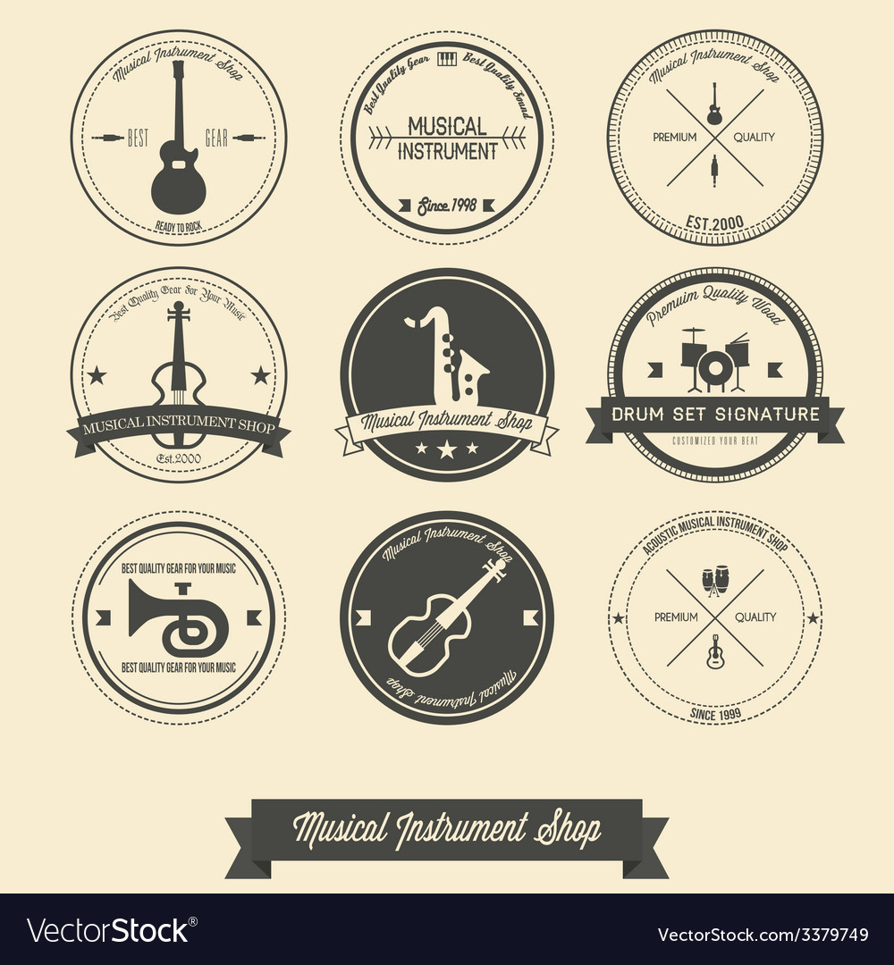 Musical Instrument Shop Vintage Label