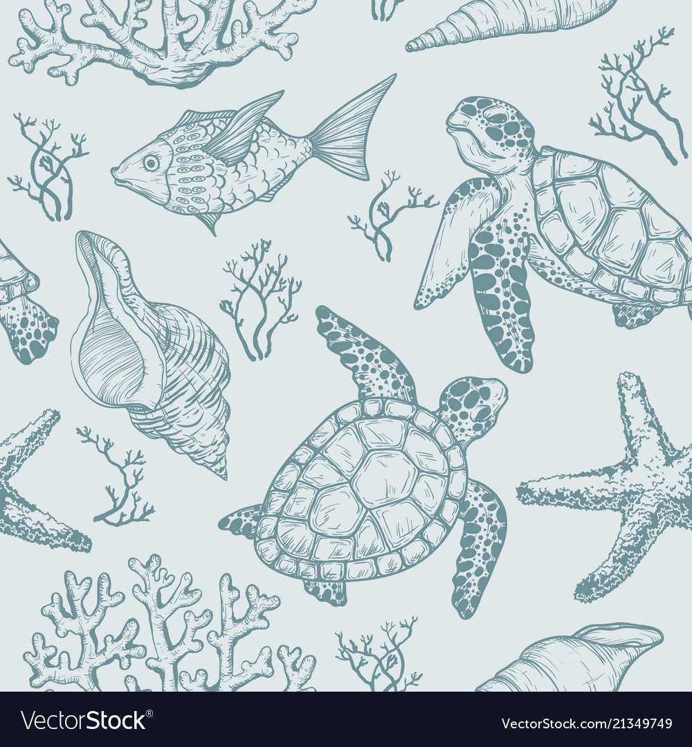 Seamless pattern with shells fish corals turtle