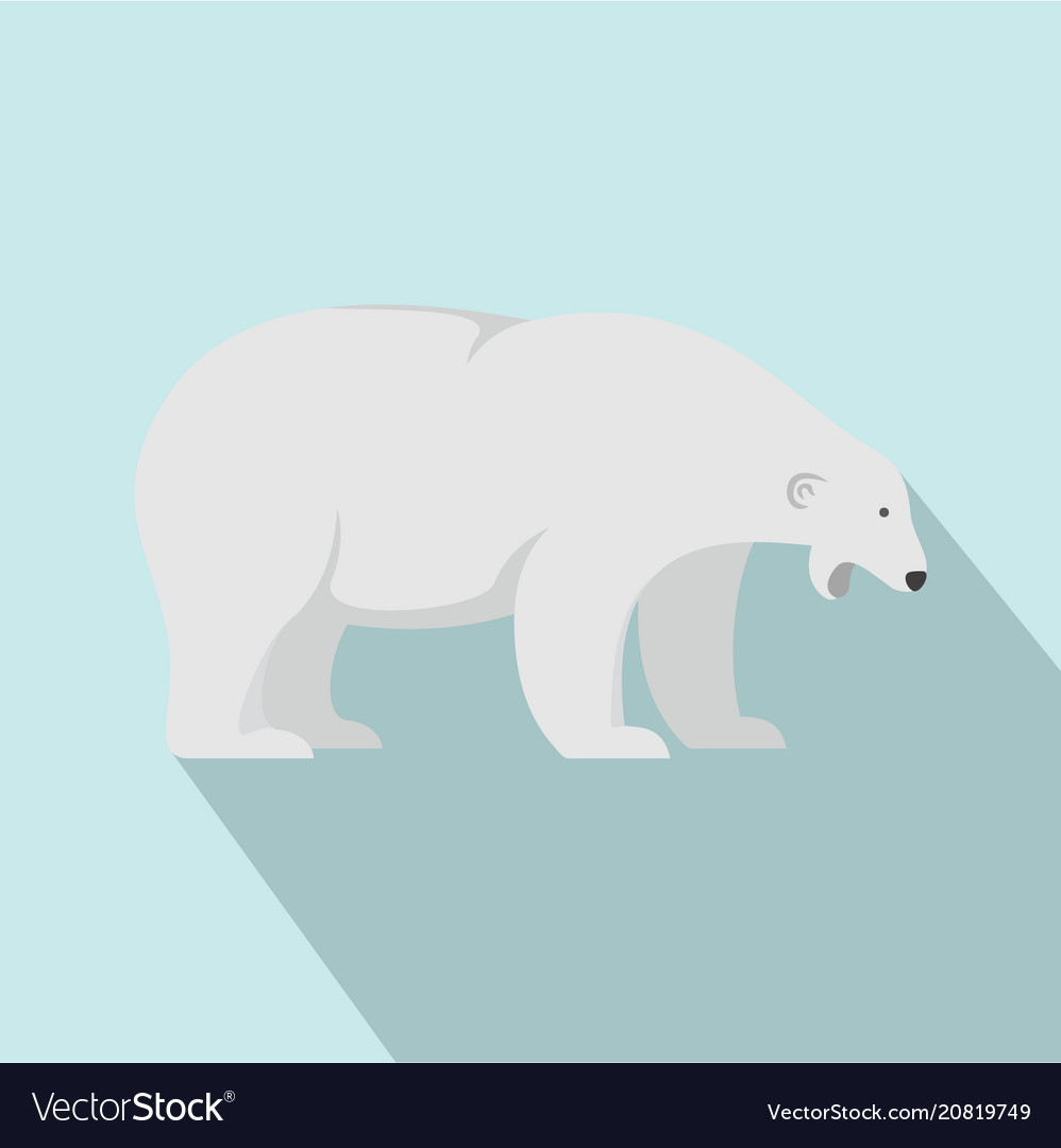 Sleepy polar bear icon flat style