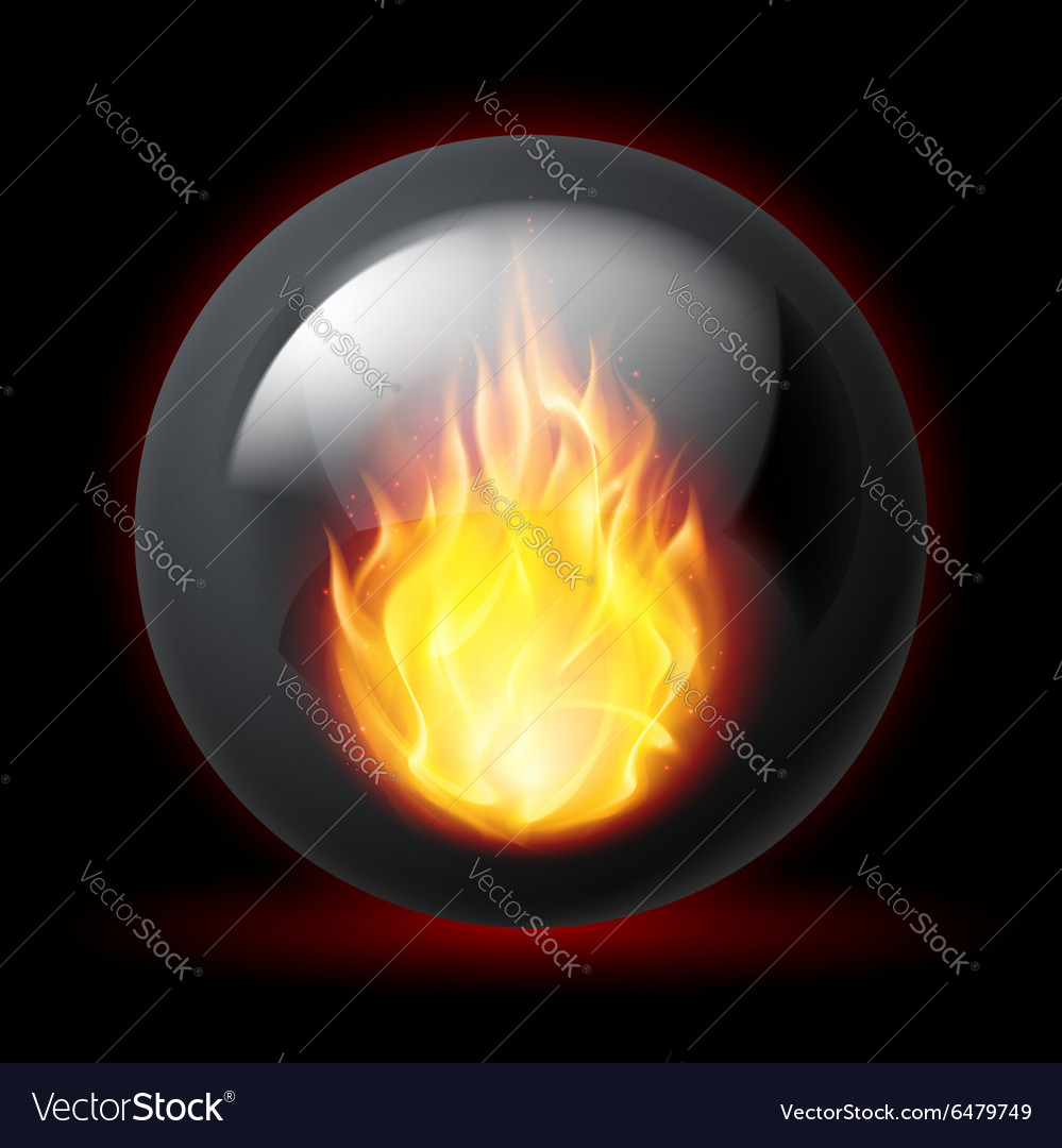 Sphere with fire flames