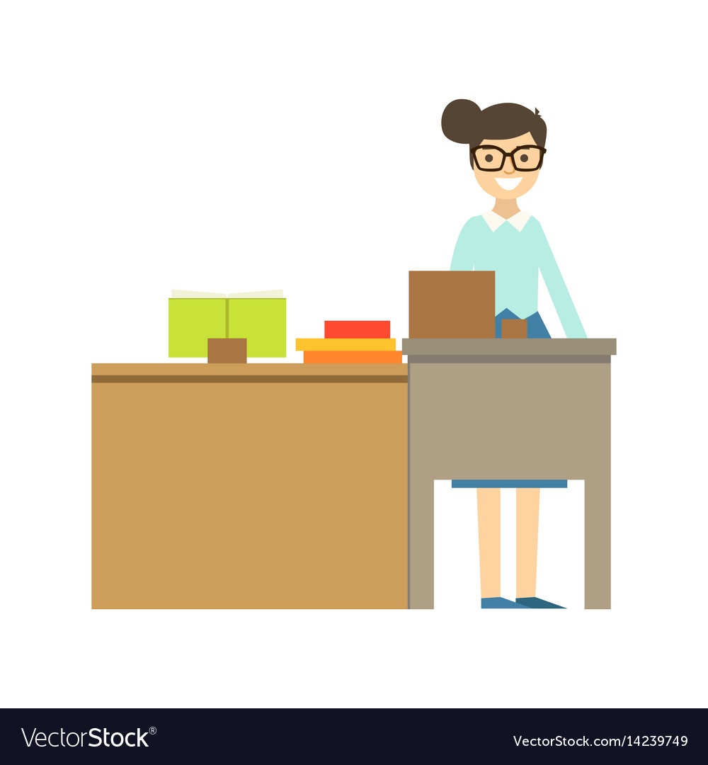 Teacher In Glasses Standing Behind The Desk Vector Image