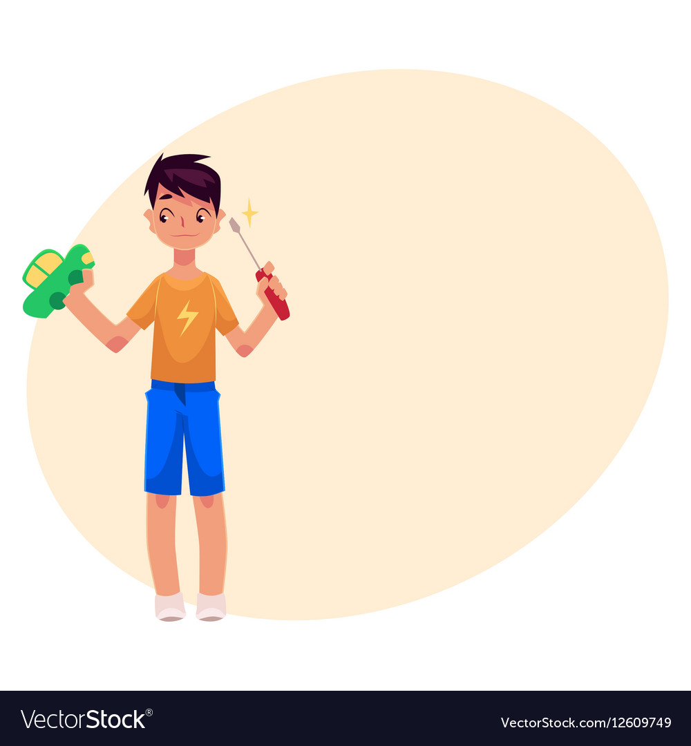 Teenage boy holding screwdriver trying to fix vector image