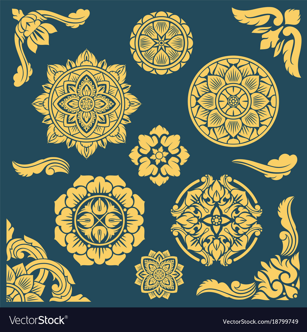 Thai indian and persian ethnic decorative vector image