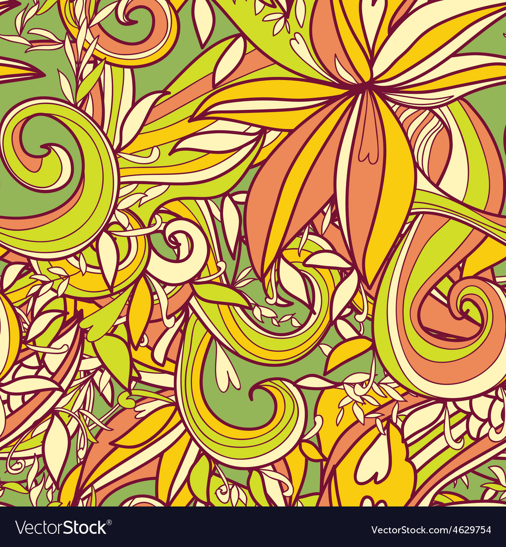 Abstract hand-drawn wave floral pattern