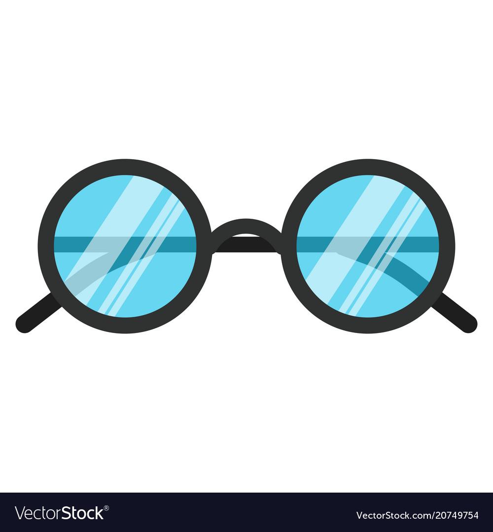 Black nerd eye glasses flat design concept