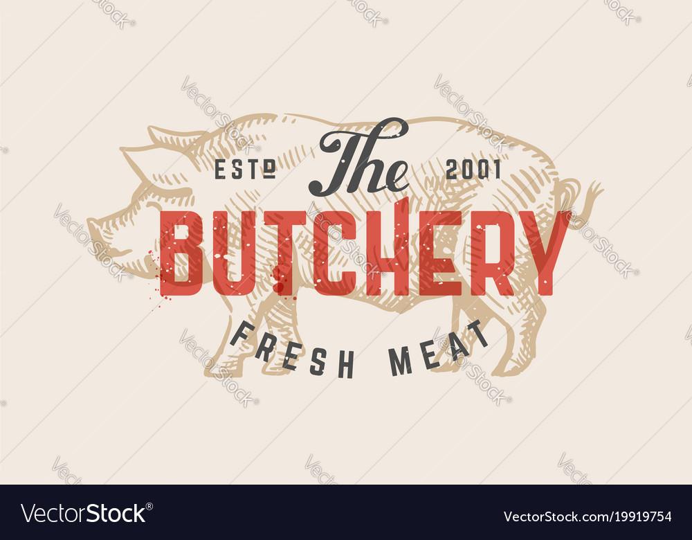 Butcher shop vintage logo vector image
