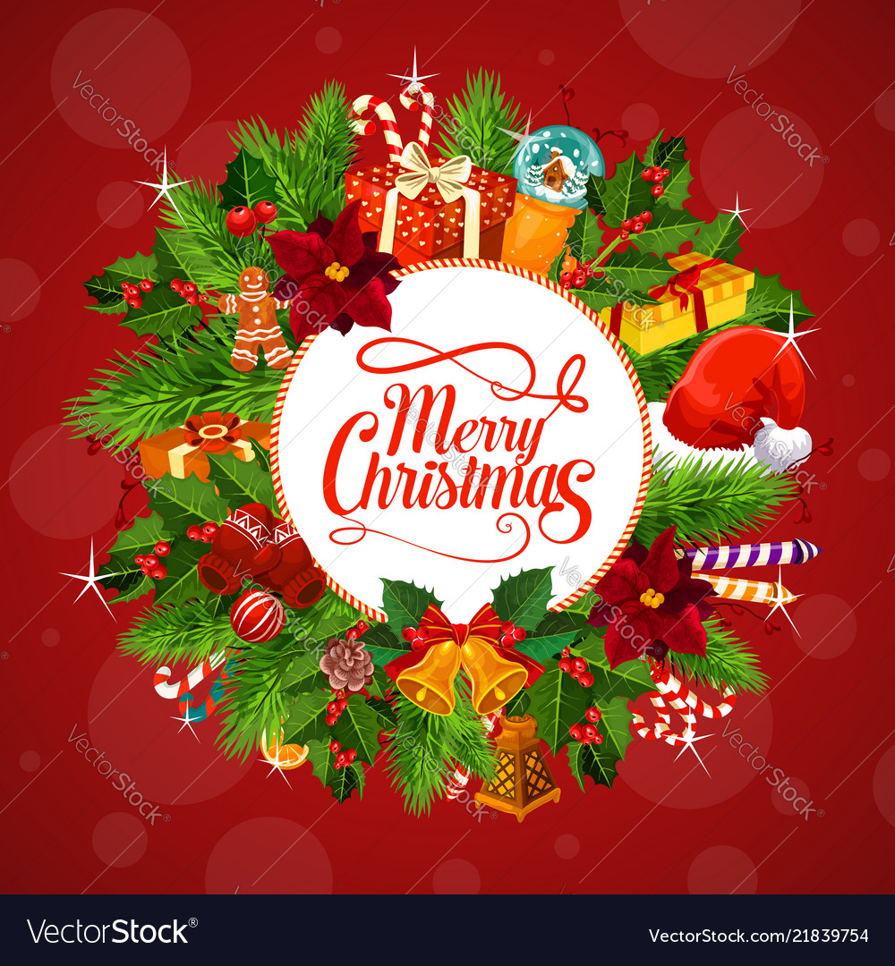 Christmas Gifts On Wreath Greetings Royalty Free Vector