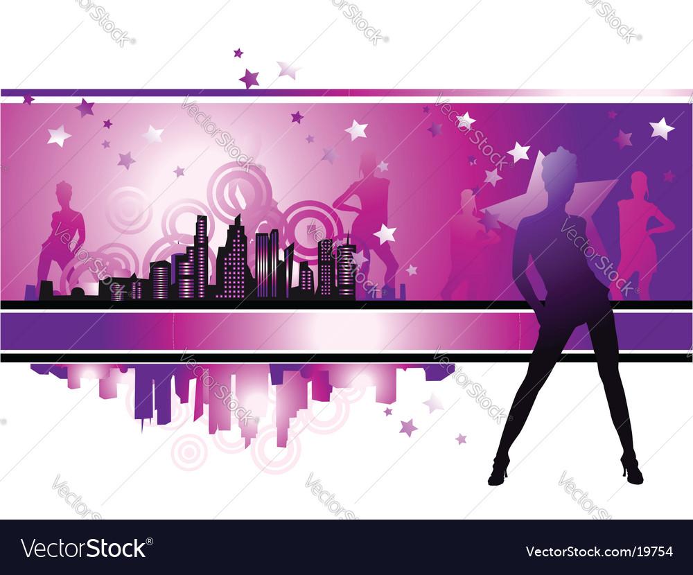 Cityscape urban frame fashion girls vector image