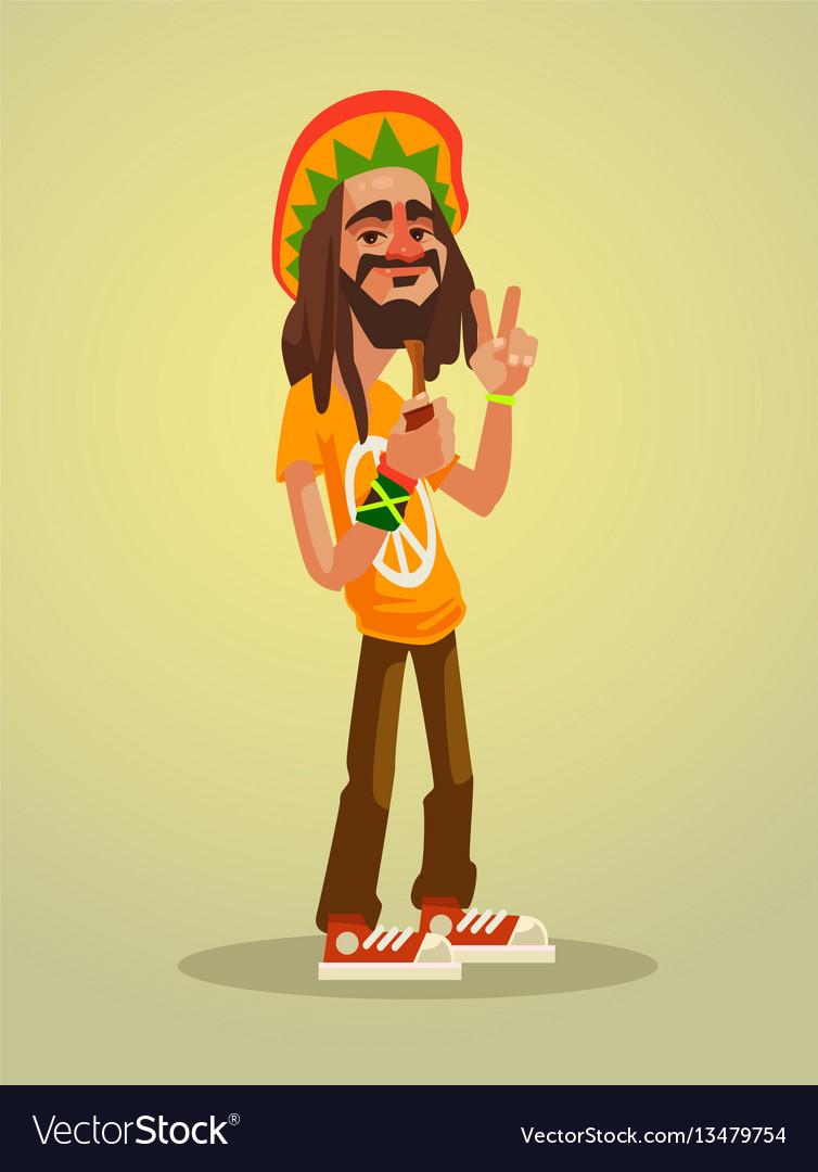 Cute happy rastafarian man character