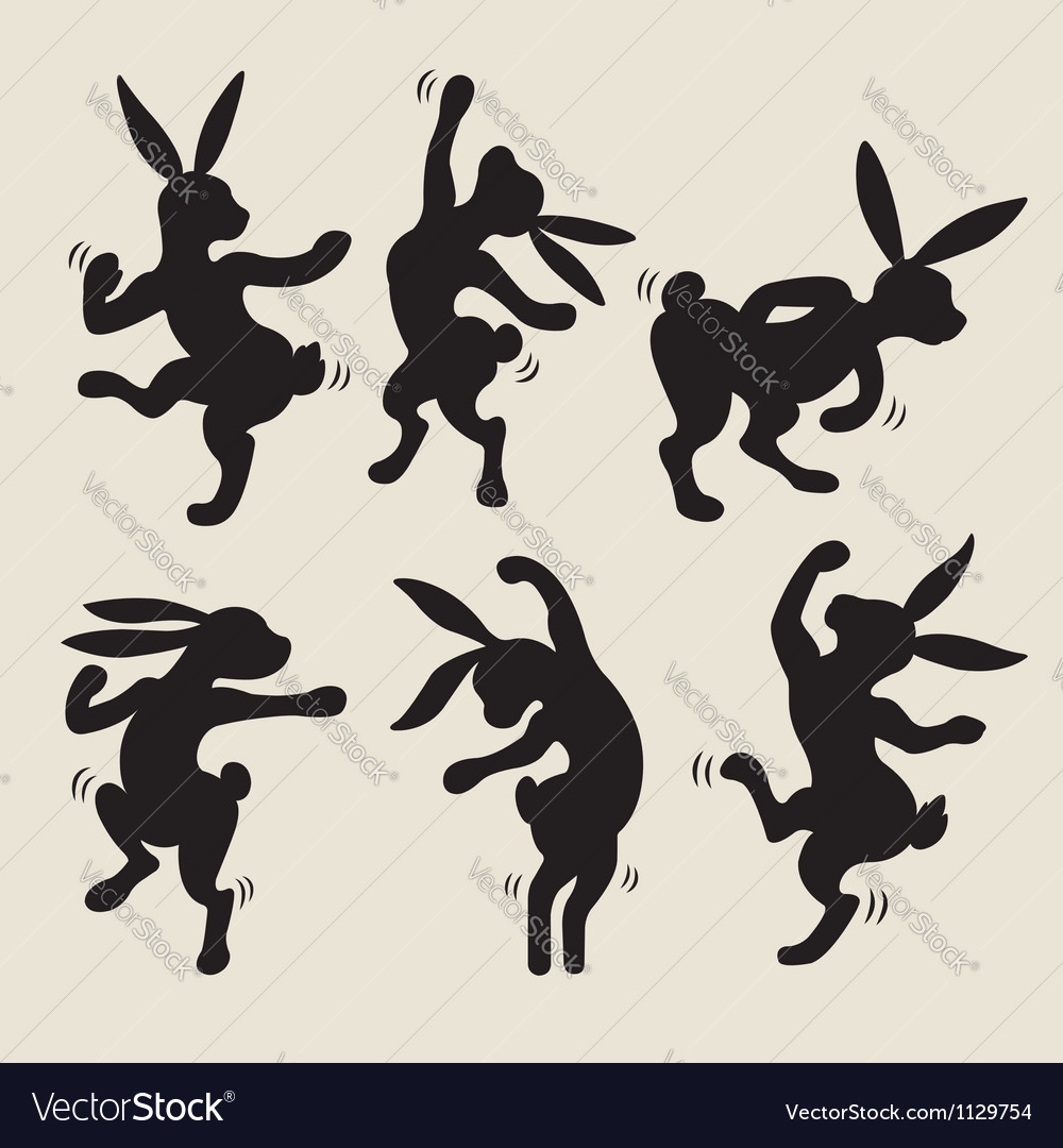 Dancing rabbit silhouette vector image