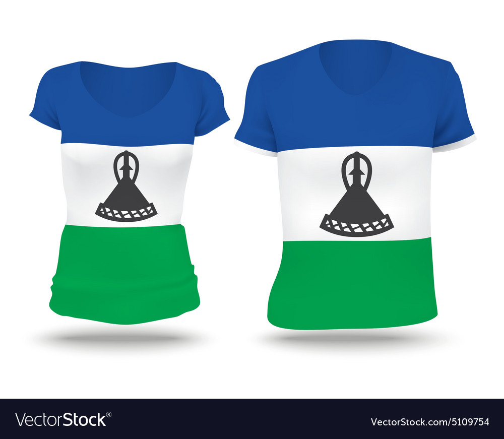 Flag shirt design of Lesotho vector image