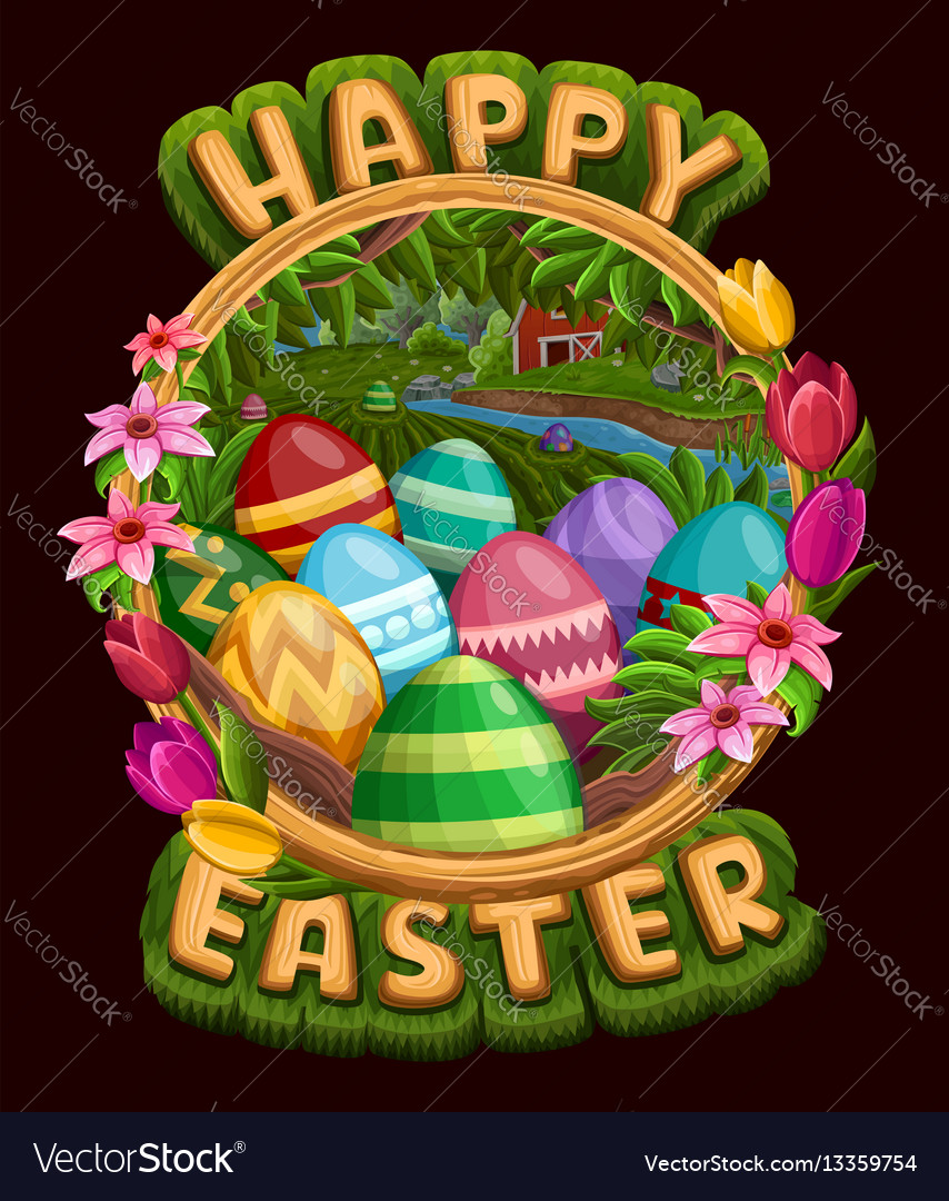 Frame with eggs flowers and greetings isolated vector image