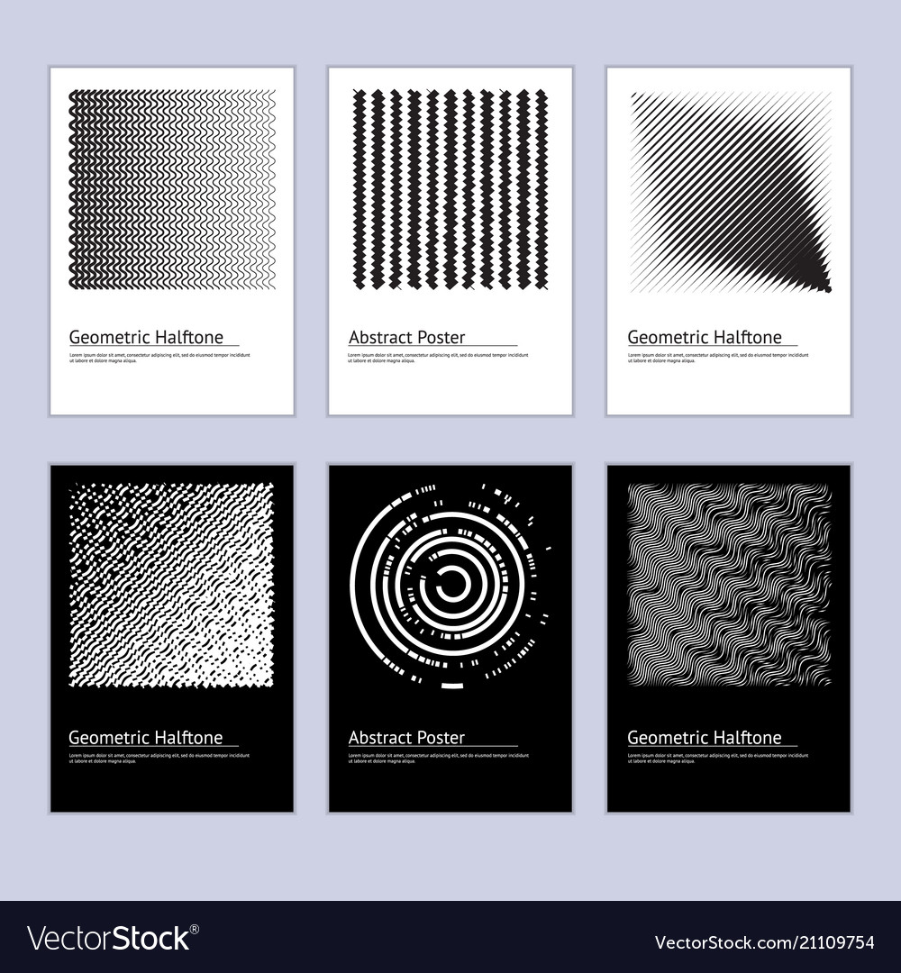 Modern abstract halftone poster design set vector image