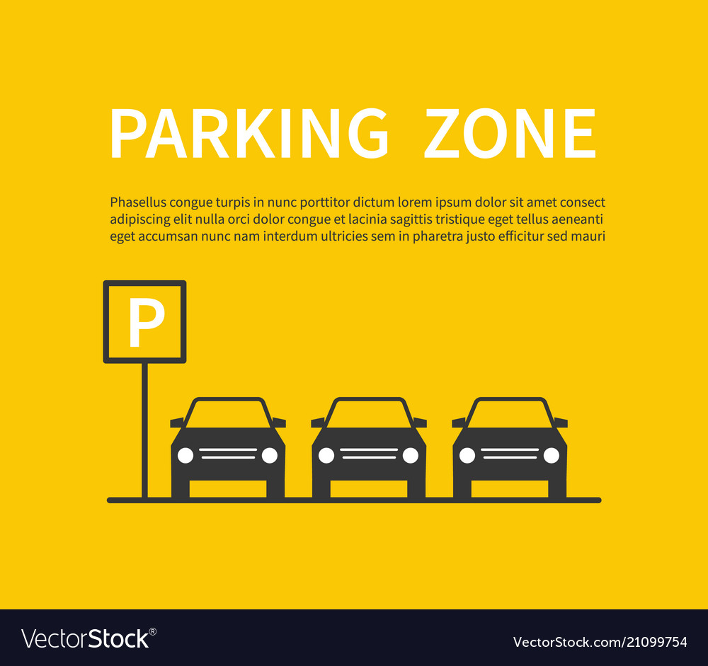 Parking zone sign with car black silhouette icons