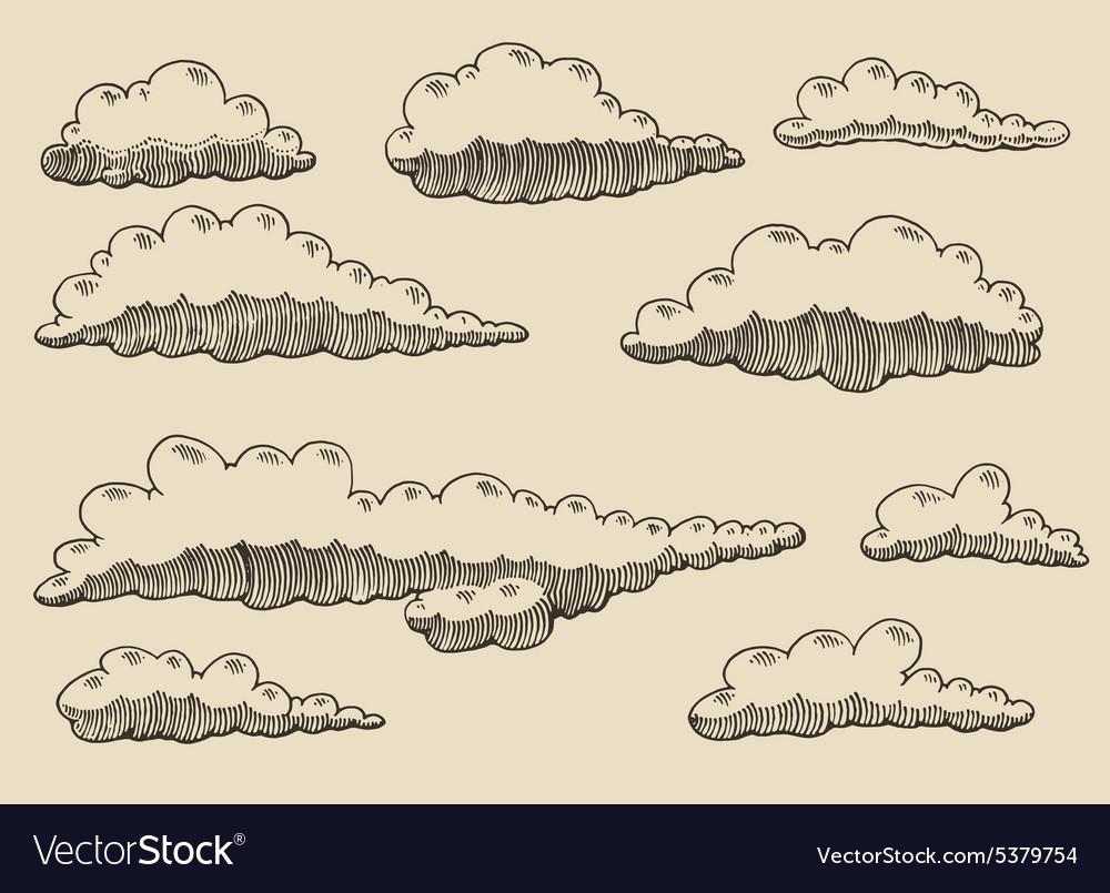 Retro clouds hand drawn sketch