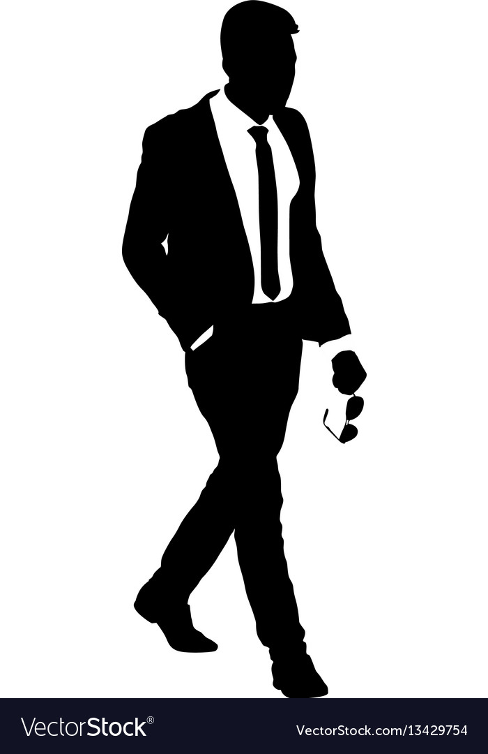 Silhouette businessman man in suit with tie on a vector image