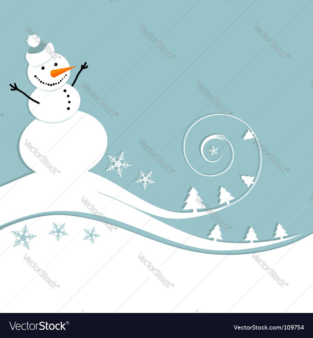snowman christmas card vector image - Snowman Christmas Cards