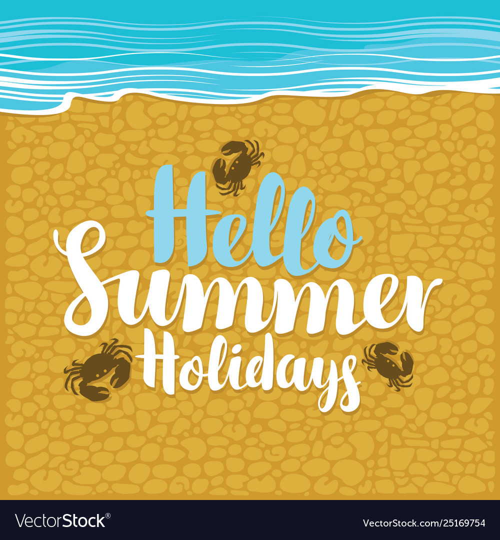 Summer travel banner with inscription and crabs