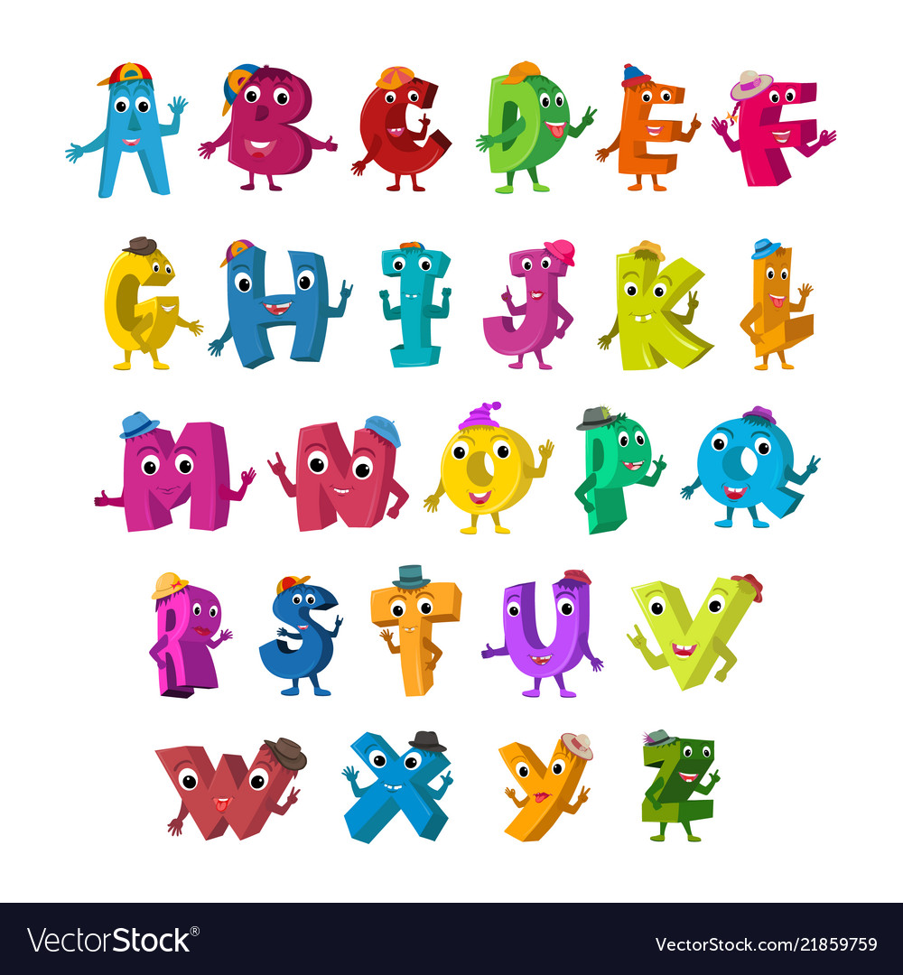 Abc funny alphabet characters alive letters with